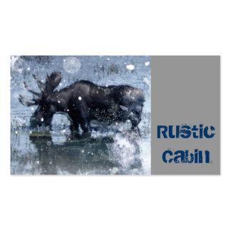 país rústico dos alces do inverno dos animais selv cartões de visitas