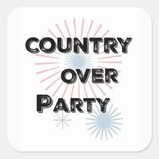 País sobre o partido - orgulho do patriota adesivo quadrado