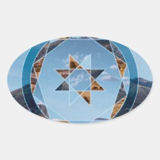 Paisagem abstrata com formas geométricas adesivo oval