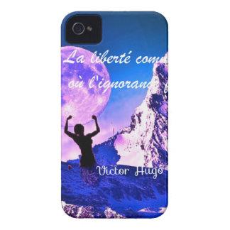 Paisagem azul com citações inspiradores capa para iPhone 4 Case-Mate