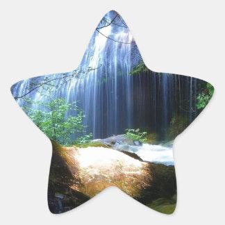 Paisagem bonita da selva da cachoeira adesivos estrelas