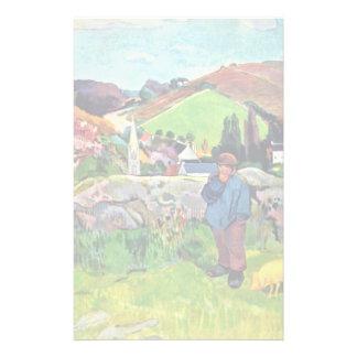 Paisagem bretão com o Swineherd por Gauguin Paul Papelaria