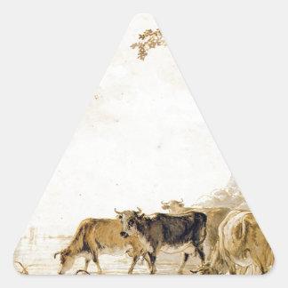 Paisagem com as vacas por Jacob camionete Strij Adesivo Triangular