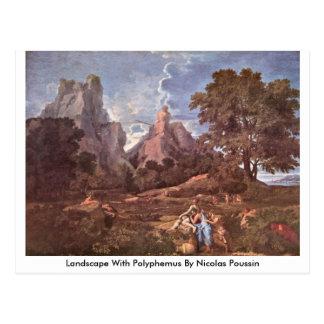 Paisagem com o Polyphemus por Nicolas Poussin Cartão Postal