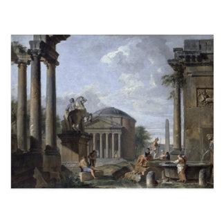 Paisagem com ruínas romanas cartão postal