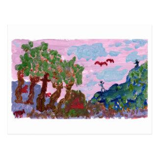 Paisagem cor-de-rosa mágica com figuras cartão