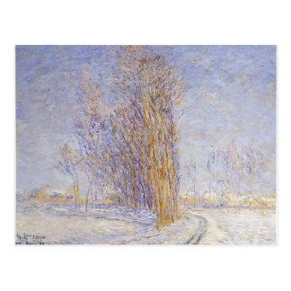 Paisagem de Gustave Loiseau- na neve Cartões Postais