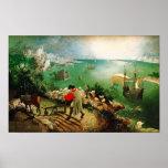 Paisagem de Pieter Bruegel com a queda de Ícaro Poster