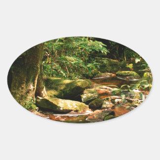 Paisagem do córrego da selva da floresta húmida adesivo oval