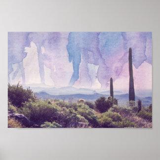 Paisagem do deserto - poster do céu | da aguarela pôster
