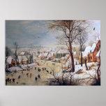 Paisagem do inverno com Birdtrap, 1601 Poster