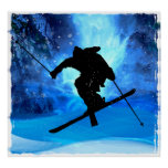 Paisagem do inverno e esquiador do estilo livre pôsteres