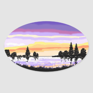 Paisagem do lago sunset adesivo oval