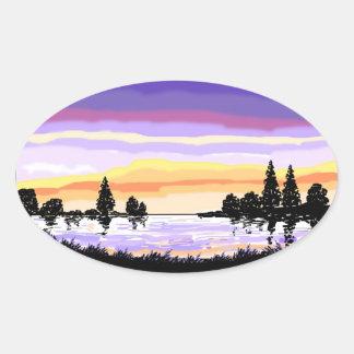 Paisagem do lago sunset adesivos em formato ovais