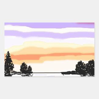 Paisagem do lago sunset adesivo retangular