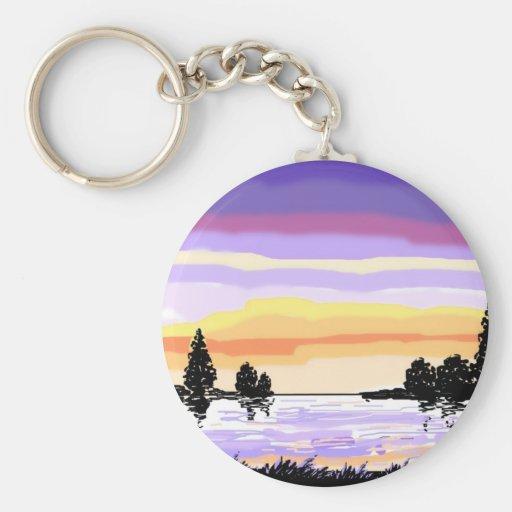 Paisagem do lago sunset chaveiro