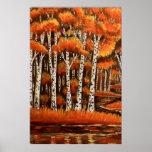 Paisagem do outono dos vidoeiros impressão
