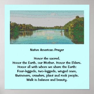 paisagem do rio com oração pôsteres