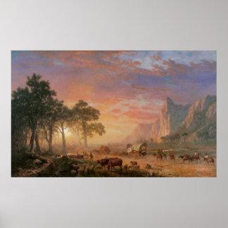 Paisagem do vintage, fuga de Oregon por Bierstadt Pôster