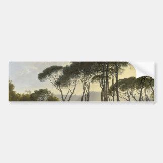 Paisagem italiana com pintura a óleo dos pinhos de