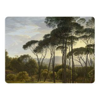 Paisagem italiana com pintura a óleo dos pinhos de convite 16.51 x 22.22cm