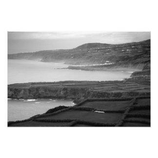 Paisagem litoral preto e branco impressão de foto