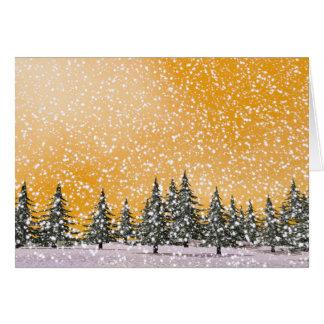 Paisagem nevado do inverno cartão comemorativo