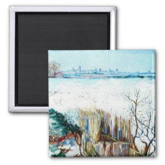 Paisagem nevado w Arles de Van Gogh, belas artes Ímã Quadrado