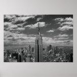 Paisagem preta & branca da skyline da Nova Iorque Posters