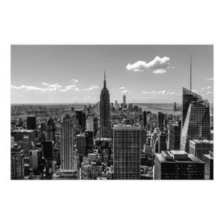Paisagem preto e branco da skyline de Manhattan Impressão De Foto