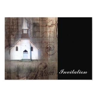 paisagem rústica moderna da igreja do país convites personalizado