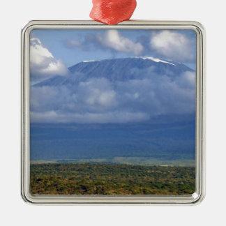Paisagens do marco do Monte Kilimanjaro Tanzânia Ornamento Quadrado Cor Prata