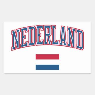 Países Baixos + Bandeira Adesivo Retangular