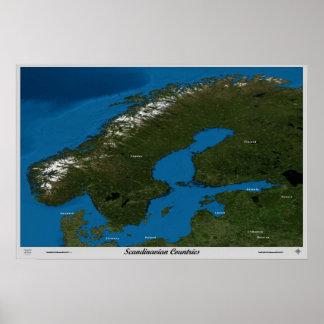 Países escandinavos do poster do satélite do espaç