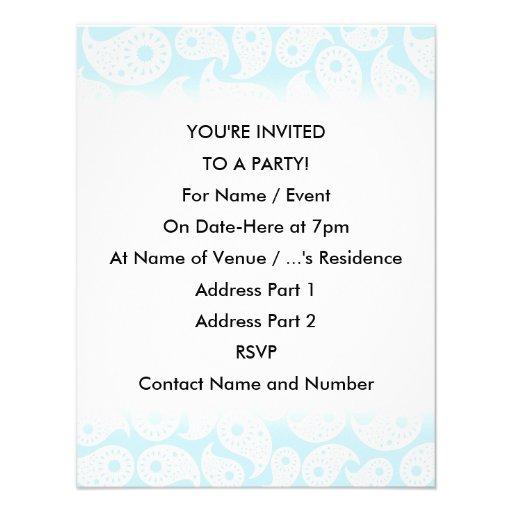 Paisley. azul branco e Pastel Convites Personalizados
