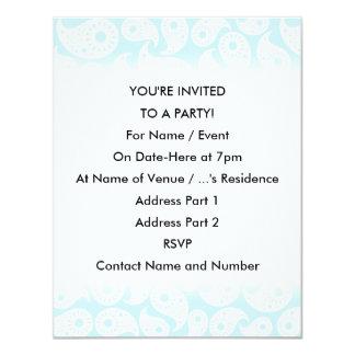Paisley. azul branco e Pastel Convite 10.79 X 13.97cm