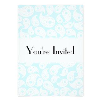 Paisley. azul branco e Pastel Convite 12.7 X 17.78cm