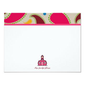 Paisley & Notecard liso personalizado escola Convites Personalizado
