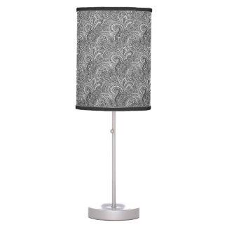 Paisley preto e branco, candeeiro de mesa luminária