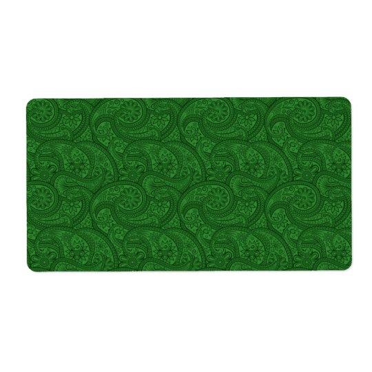 Paisley verde etiqueta de frete