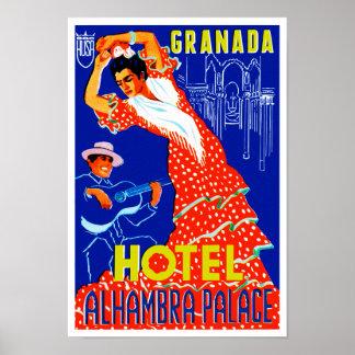 Palácio de Alhambra do hotel de Granada Poster