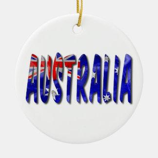 Palavra de Austrália com o ornamento cerâmico da