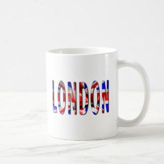 Palavra de Londres com a caneca de café da textura