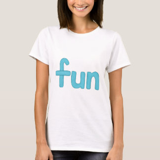 palavra do divertimento na camiseta do aqua