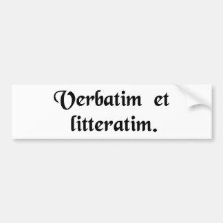 Palavra para a palavra e letra para a letra adesivo