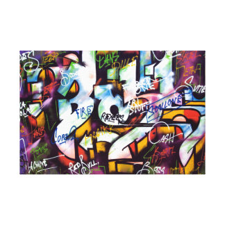 Palavras coloridas dos grafites impressão de canvas envolvida