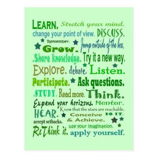 Palavras da colagem da sabedoria cartão postal