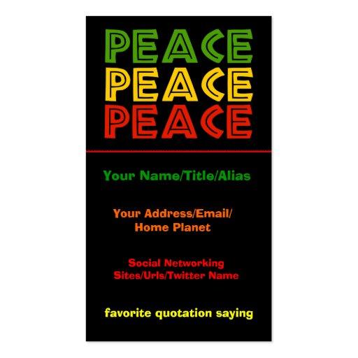 Palavras da paz cartoes de visita