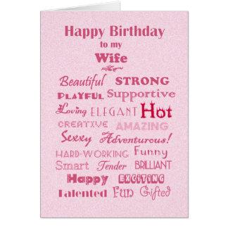 Palavras de feliz aniversario da esposa de elogio cartão comemorativo