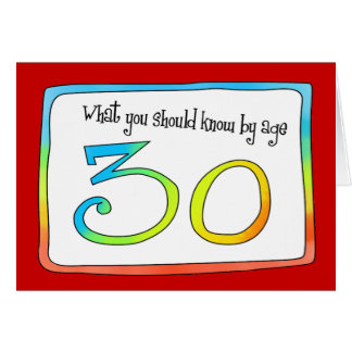Palavras do aniversário de 30 anos da sabedoria cartão comemorativo